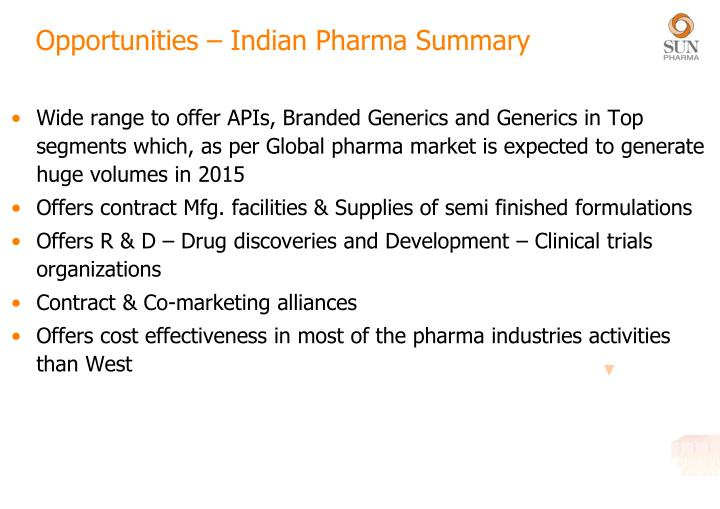 Opportunities – Indian Pharma Summary