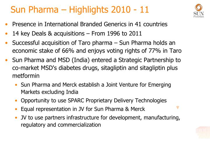 Sun Pharma – Highlights 2010 - 11