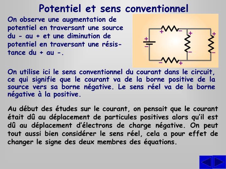 Potentiel et sens conventionnel