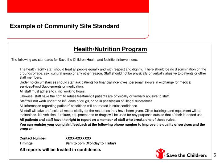 Example of Community Site Standard