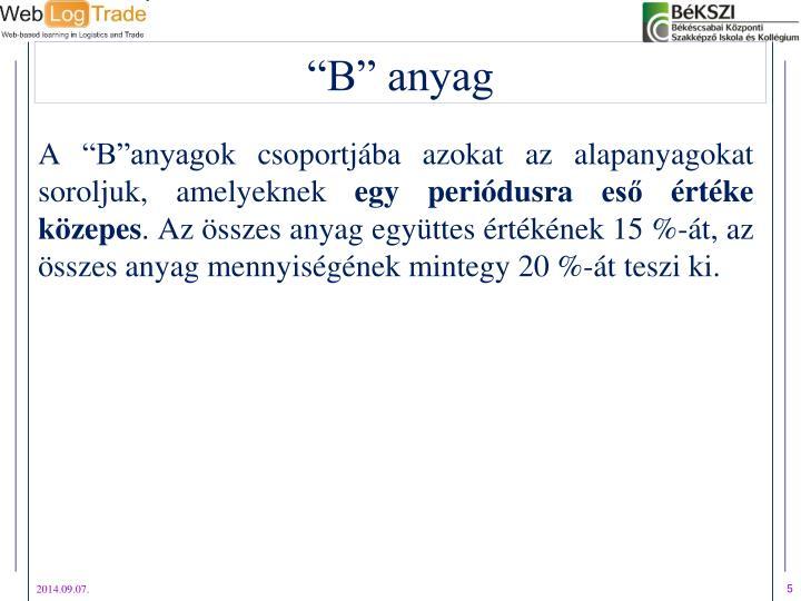 """A """"B""""anyagok csoportjába azokat az alapanyagokat soroljuk, amelyeknek"""