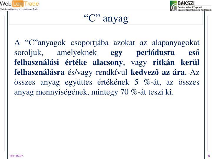 """A """"C""""anyagok csoportjába azokat az alapanyagokat soroljuk, amelyeknek"""