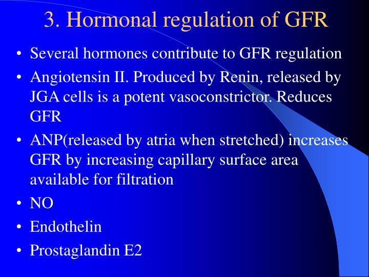 3. Hormonal regulation of GFR