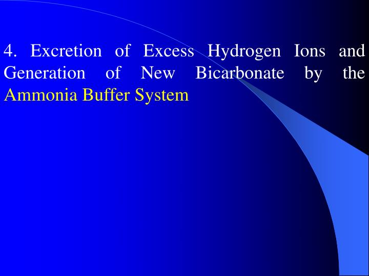 4. Excretion of Excess Hydrogen Ions and Generation of New Bicarbonate by the