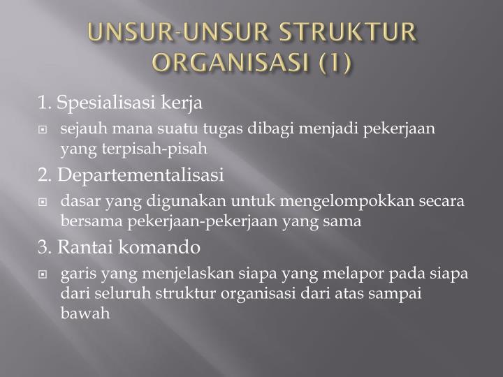 UNSUR-UNSUR STRUKTUR ORGANISASI (1)
