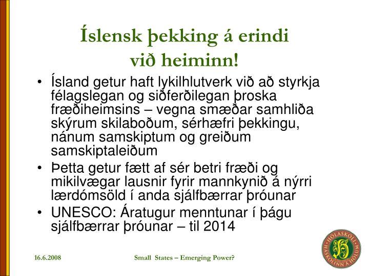 Íslensk þekking á erindi