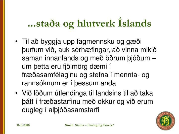 ...staða og hlutverk Íslands