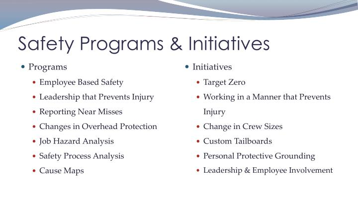 Safety programs initiatives