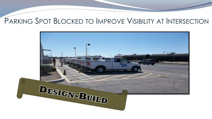 Parking Spot Blocked to Improve Visibility at Intersection