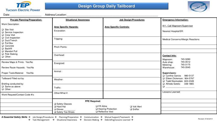 Design Group Daily Tailboard