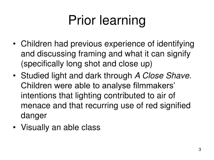Prior learning