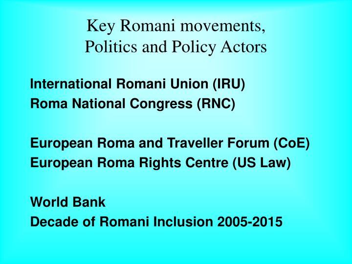 Key Romani movements