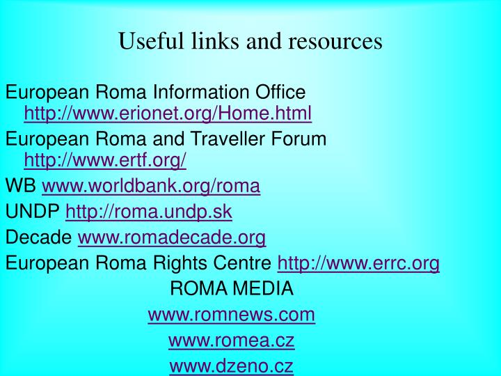 Useful links and resources