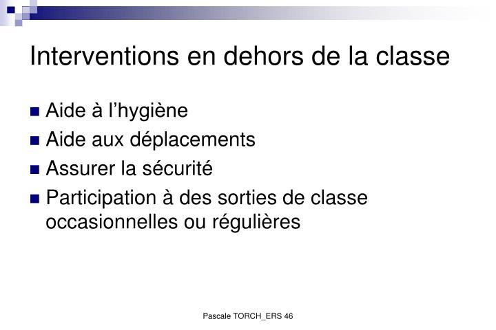 Interventions en dehors de la classe