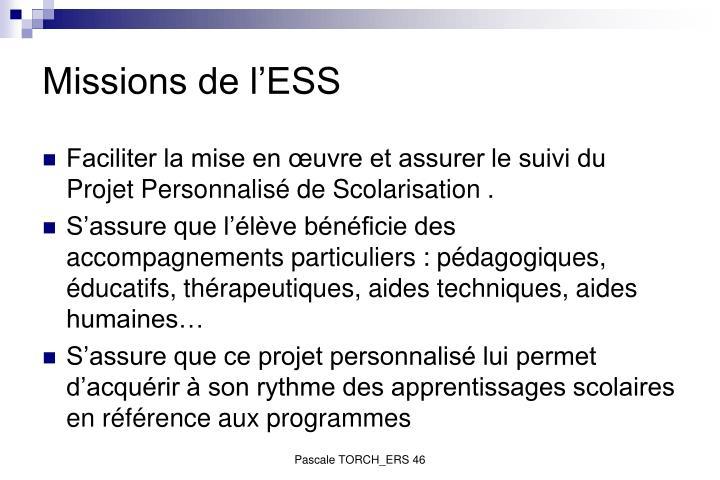 Missions de l'ESS