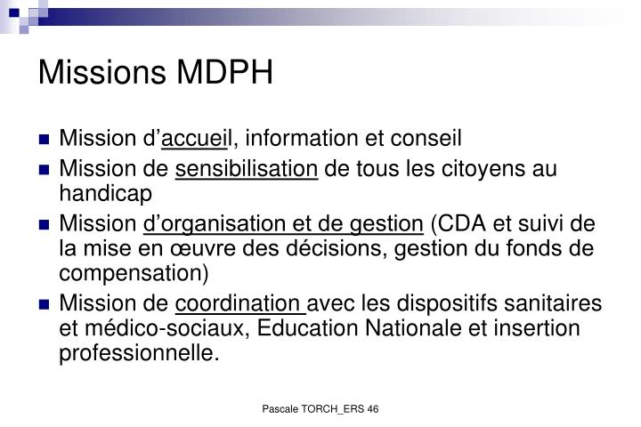 Missions MDPH