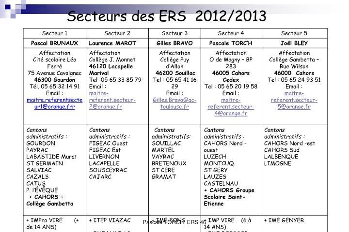 Secteurs des ERS  2012/2013