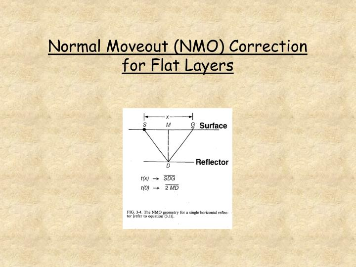 Normal moveout nmo correction for flat layers
