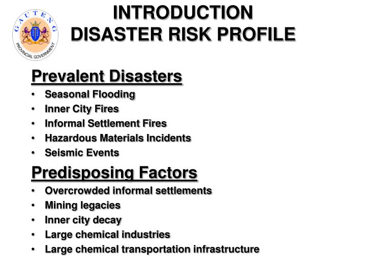 Introduction disaster risk profile