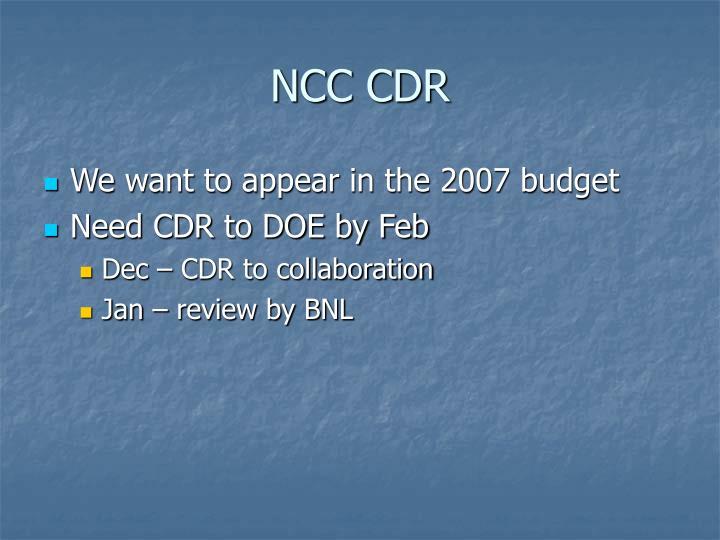 NCC CDR