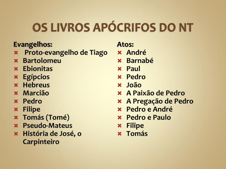 OS LIVROS APÓCRIFOS DO NT