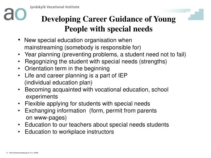 Developing Career Guidance of Young People with special needs