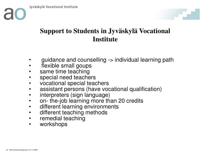 guidance and counselling -> individual learning path
