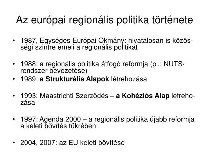 Az európai regionális politika története