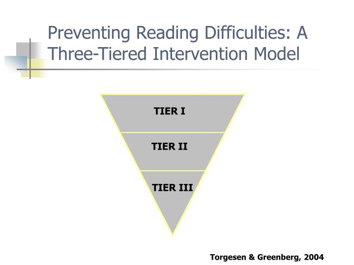 Preventing reading difficulties a three tiered intervention model