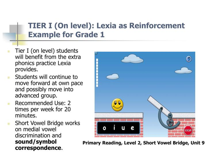 TIER I (On level): Lexia as Reinforcement