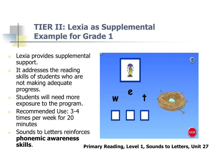 TIER II: Lexia as Supplemental