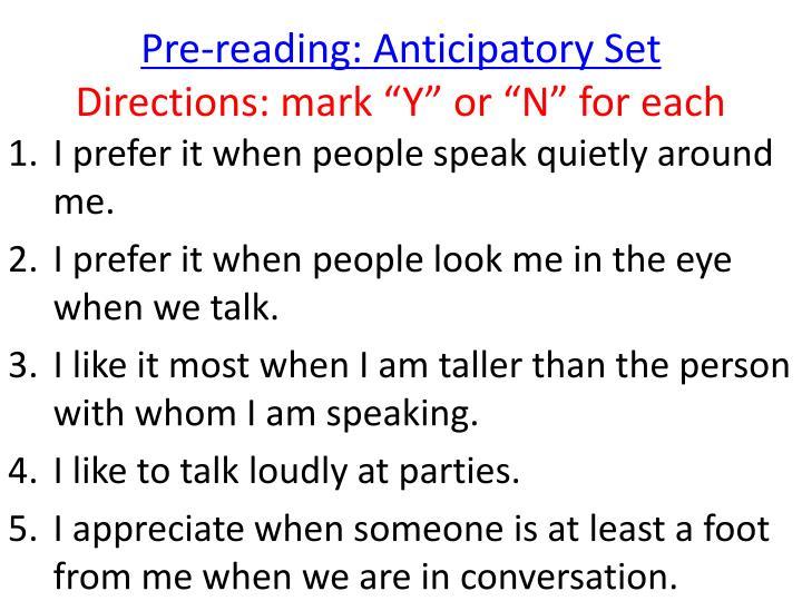 Pre-reading: Anticipatory Set