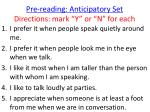 pre reading anticipatory set directions mark y or n for each