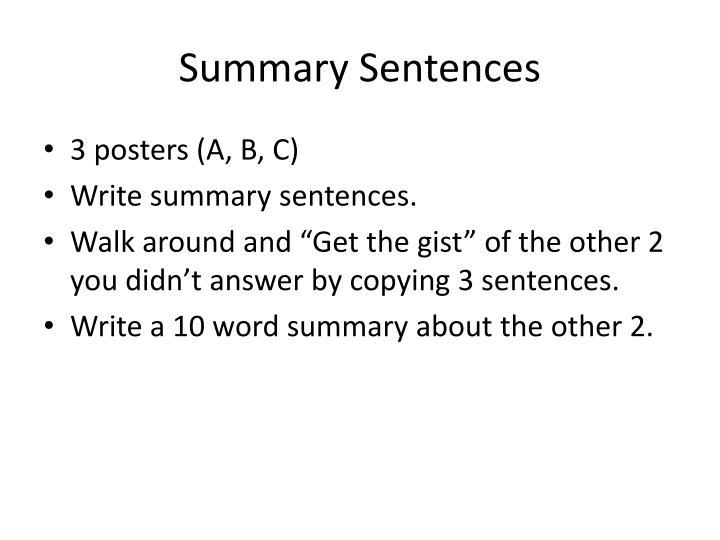 Summary Sentences