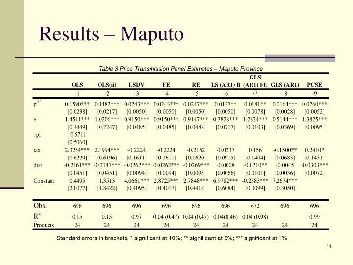Results – Maputo
