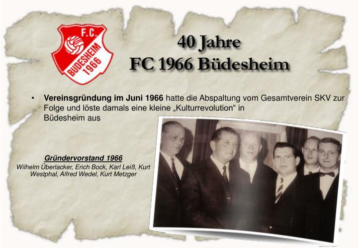 Vereinsgründung im Juni 1966