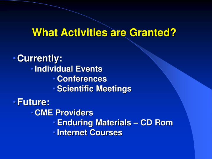 What Activities are Granted?
