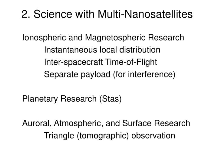 2. Science with Multi-Nanosatellites