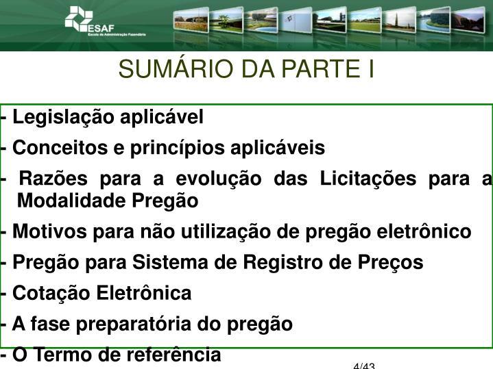 SUMÁRIO DA PARTE I