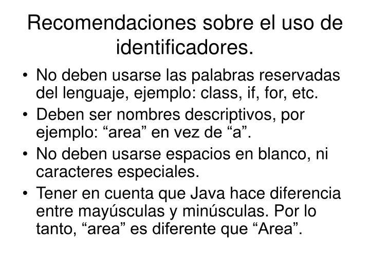 Recomendaciones sobre el uso de identificadores.
