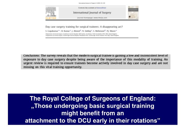 The Royal College of Surgeons of England: