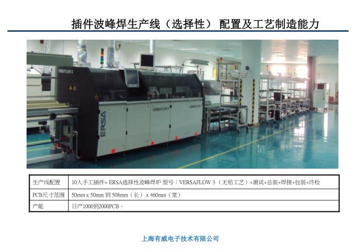 插件波峰焊生产线(选择性) 配置及工艺制造能力