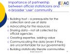 importance of partnership between official statisticians and a broader user community