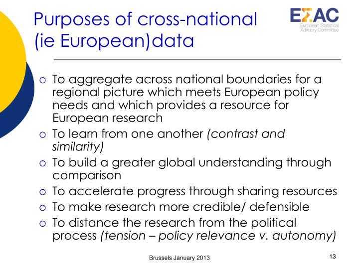 Purposes of cross-national