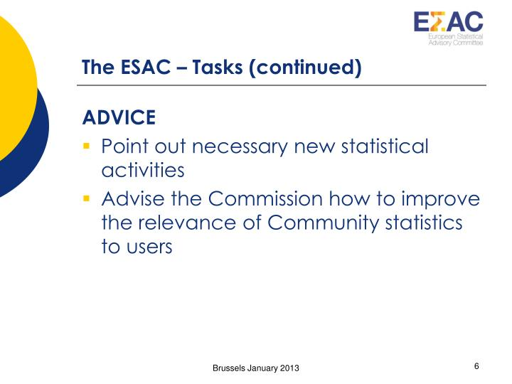 The ESAC – Tasks (continued)