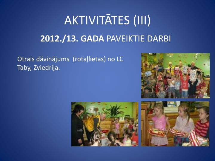 AKTIVITĀTES (III)