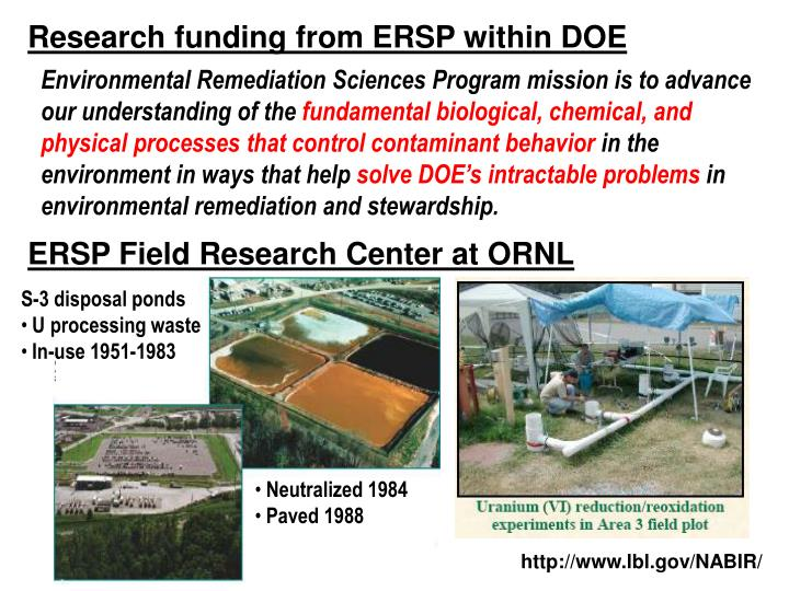 Research funding from ersp within doe