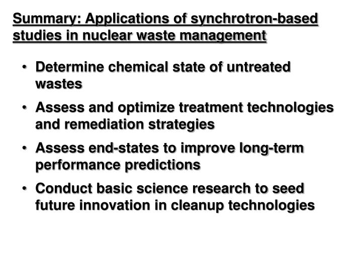 Summary: Applications of synchrotron-based studies in nuclear waste management