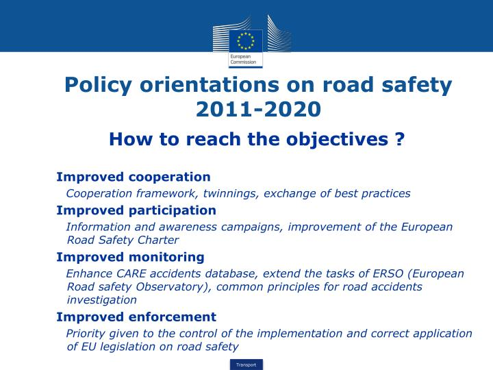 Policy orientations on road safety 2011-2020