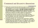communal and discursive dimensions